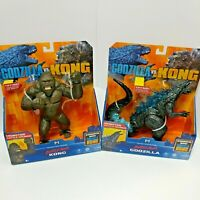 "Godzilla vs Kong: BATTLE ROAR Godzilla & Kong 7"" Figures MonsterVerse Lot of 2"