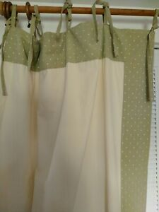 """Custom Heavy Woven Cotton Tie Top Lined Curtains 84"""" X 104"""""""