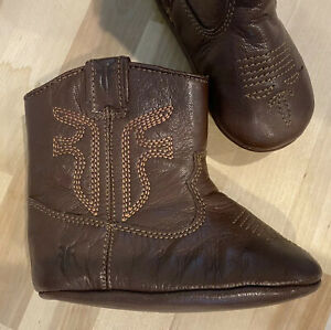 Frye baby Rodeo Bootie - Size 4 - Brown Soft Faux Leather with Stitching Detail