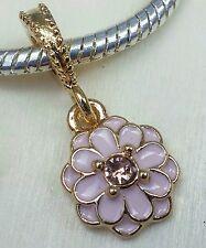 Rose Gold Pink Enamel Crystal LOTUS Flower CZ Center European Dangle Bead Charm