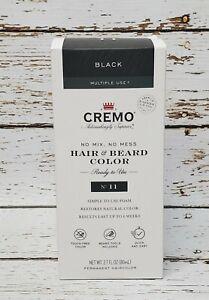 CREMO Hair & Beard Color Simple To Use Foam #11 Black 2.7 FL OZ Multiple Use