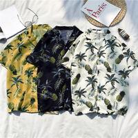 Men's Short Sleeve Pineapple Print Hawaiian Collar Shirt Beach Party Tops Blouse