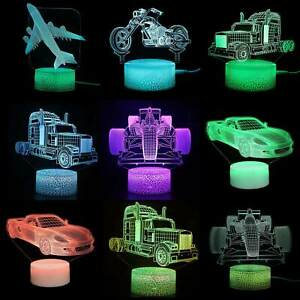 3D Illusion Car LED Night Light 16 Color Touch/Remote Table Desk Lamp Kids Gifts