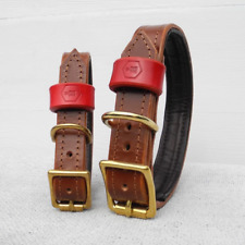 Luxury Brown Bridle Leather Dog Collar With Padded Lining