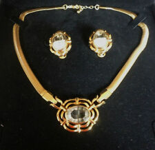 Glass Gold Necklace Vintage Costume Jewellery (1970s)