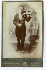 George W. McPherson with Violin, Antique Photo by  Ernest Carver, Maesteg, UK