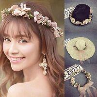 Damen Boho Blumen Haarband Blumenkranz Stirnband Hochzeit Braut Haarschmuck
