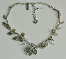 NEW Oscar de la Renta Flowers Collar Necklace Rose Jeweled Crystals Silver