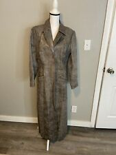 Newport News ANTIQUE TAUPE LEATHER LONG DUSTER COAT Sz12
