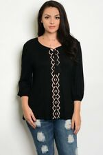 WOMEN'S PLUS SIZE BLACK EMBROIDERED PEASANT TOP WITH TASSEL TIE ACCENT 2X NWT