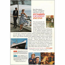 1963 Cunard: First Stop is France Superliner Style Vintage Print Ad