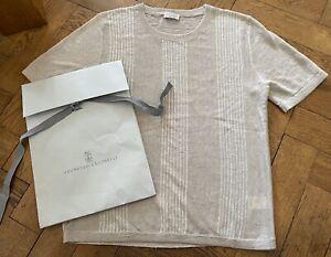 Brunello Cucinelli T-Shirt Top Leinen Gr. M L NEU NP 690€