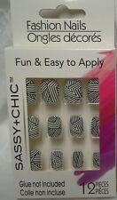 NEW Sassy Chic Fashion False Nails #12 Nails Black White Stripes BEAUTIFUL!