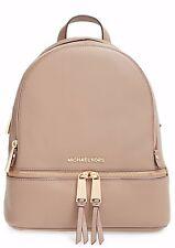 NWT MICHAEL Michael Kors Rhea Zip Dark Dune Leather Small Backpack Bag