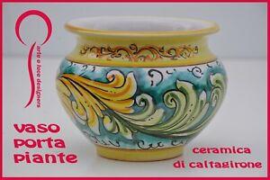 Vaso porta piante in ceramica di Caltagirone caspò cachepot vasi siciliani
