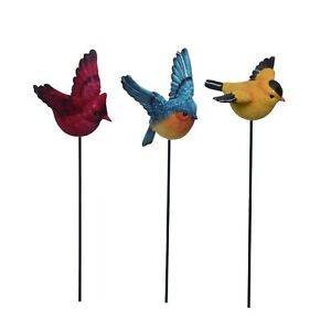 "Set of 3 Flying Bird Picks, Cardinal, Bluebird, Goldfinch. 21"" tall"