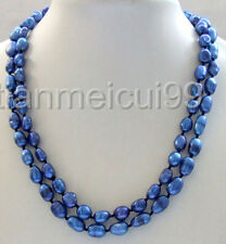 """nature 34"""" blue baroque freeform nugget freshwater pearl necklace 8-9mm"""