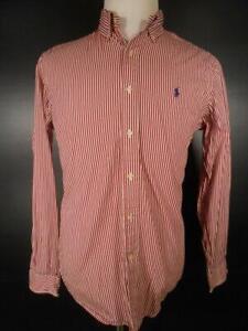 Beautiful Men's Medium Ralph Lauren Red Striped Long Sleeve Button-Down Shirt