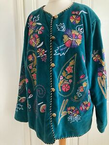 Indigo Moon Beautiful Teal Green Velvet Jacket Piped Trim  Embroidered Sz 1XL