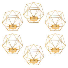6pcs IRON HOLLOW GEOMETRIC PILLAR CANDLE HOLDER CAGE LANTERN WEDDING Golden
