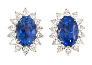 Real 925 Silver Oval Ceylon 24.80CT Sapphire & 5.80CT White CZ Cluster Earrings