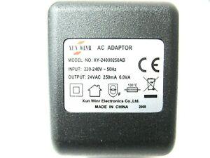 250ma 24v Socket AC-AC (AC Output) Power Adaptor/Supply/Charger (0.25a 6w 6va)