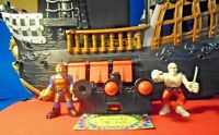 Fisher Price Imaginext 2006 Pirate Ship #8250 w/ 2pc Crew Canon & Jolly Roger