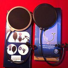 2 x Popschutz, Popkiller, Popfilter für Mikrofon schwarz, Popschutz Nylonschirm