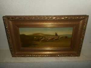 Antique oil painting, { Herder with his flock, signed, Th. Wissen 1866 - 1954 }.