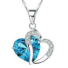 Fashion Crystals Heart Shape Pendant Necklace Pendant + Gift Box (Highland Blue)