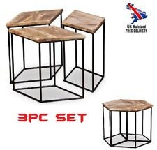 Unique Coffee Table 3pc Set Modular Wood Metal Retro Unusual Designer Side Stool
