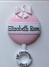 Personalized Pink Rattle Baby Girl's First Christmas Ornament Newborn Grandchild