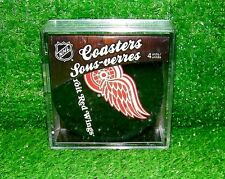 DETROIT RED WINGS HOCKEY PUCK COASTERS SET OFFICIAL NHL - NEW