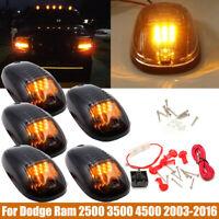 5pcs 9LED Smoked Cab Roof Marker Lights Amber For Dodge Ram 2500 3500 4500 03-16
