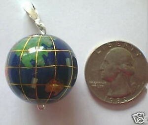 LAPIS INLAY GEMSTONE WORLD GLOBE JASPER PENDANT CHARM AGATE JEWELRY