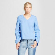 NWT - Women's Drawstring Sleeve Top - Who What Wear - Blue - Large