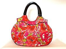 Vera Bradley_M_Purse_Floral_Pink/Green/Black/Red/White_Black Resin Handles_EUC