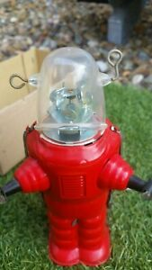 Robot Space Trooper Tin Toy Friction Crank Handle Motor Robby Robbie MIB Planet