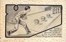 COMIC BOWLING ROMANCE SPORTS EMBOSSED BORDER POSTCARD (c. 1910)