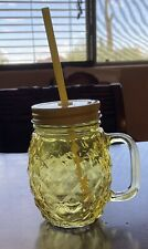 New Yellow Pineapple Glass Mason Jar ~ Tumbler Plastic Straw Cup Party Drinking