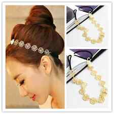New Women Fashion Flower Head Chain Jewelry Hollow Elastic Hair Band Headband ES