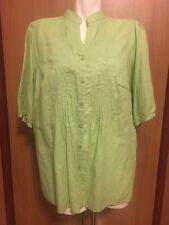 Women Lime Green  Linen Blouse Alexandra Bartlett 1X 1XL Embroidered New Buttons