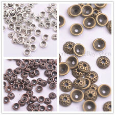 100pcs Tibetan Silver/Gold/Bronze Round Charm Spacer Beads for Bracelet 3145