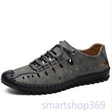 Mens Summer Roman Flats Leather moccasin Big Size Close Toe Sandals SHOES
