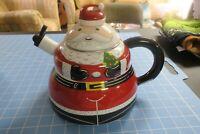 ROSHKO PORCELAIN Enamel on Steel Santa Stove Top Tea Kettle 3 QT