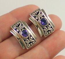 Estate Gorgeous Vintage Sterling Silver Bright Purple Amethyst Pierced Earrings