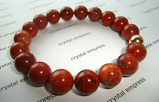 FENG SHUI - 12MM RED JASPER MALA BRACELET WITH GOLD BEAD