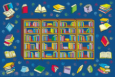 """4'3""""x6'6"""" Area RUG  Educational  Book  Reading Time  Library Books Blue 5x7' NEW"""