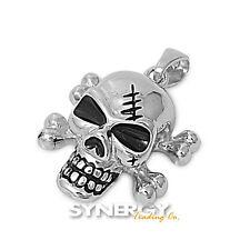 .925 Sterling Silver Skull Head Cross Bone Skeleton Pendant - BRAND NEW