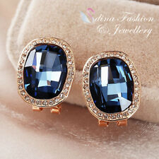 18K Rose Gold GF MW Swarovski Classical Baguette Element French Clip Earrings